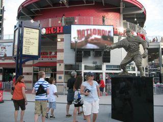 Entering stadium