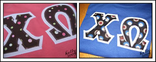 Chi Omega Letter Tees
